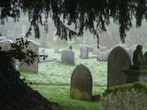 Wintry Morning Graveyard. Early morning sun in graveyard stock photography