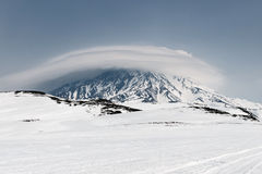 Wintry mountain landscape of Kamchatka: view of active Koryaksky Volcano Royalty Free Stock Photo