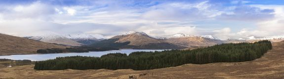 Panorama of Scottish hills sunny day Stock Images