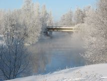 Wintry river stock photo