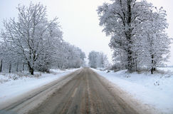 Wintry road Royalty Free Stock Photos
