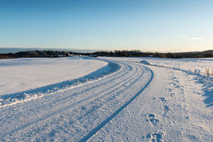 Wintry road Royalty Free Stock Image