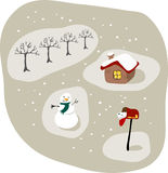 Wintry scene. Christmas cards in the mailbox, a log cabin, a snowman and a row of bare deciduous trees Royalty Free Stock Photo