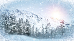 Wintry scene through frozen window. Christmas background Stock Images