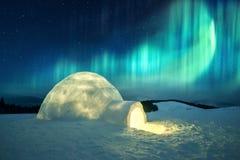Wintry scene with glowing polar lights and snowy igloo