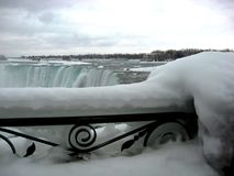Niagara Falls in the winter with blue water and thick ice. Wintry scene at he Niagara Falls Canadian side with icy black steel railing and thick ice cover and royalty free stock image
