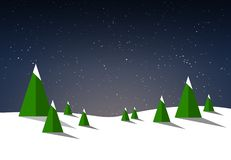 Wintry and snowy illustration background with fir trees and night sky vector illustration