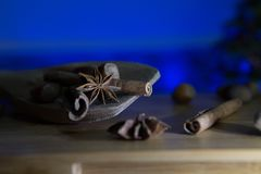 Wintery Spices In a Wooden Spoon. Wintry Spices In a Wooden Spoon Stock Photography