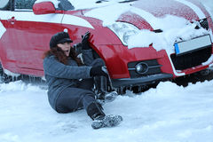 On wintry streets it can easily come to accidents Stock Photography
