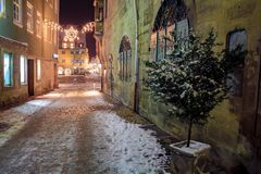 Wintry streets of Coburg Royalty Free Stock Images