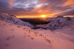Wintry sunrise in Snowdonia. Wonderful sunrise over Snowdonia in wintry weekend in February 2018 Stock Photography