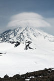 Wintry view of active Koryaksky Volcano on Kamchatka Peninsula Royalty Free Stock Image