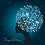 Wintry woman. Wintry illustartion, woman with snowflakes Stock Images
