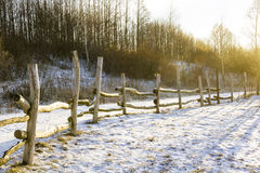 Wintry wooden fence Royalty Free Stock Photo