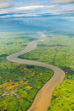 Winyaw River and paddy field view from window of airplane on the Stock Photos