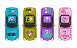 Winylowi majchery na samochodzie wyścigowym ilustracji