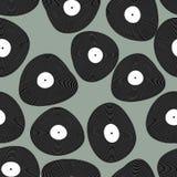 Winylowy LP bezszwowy wzór podkład muzyczny retro Winylowi dyski a Obrazy Stock