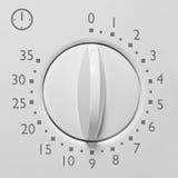 Winziger Mikrowellenherdtimer der Entsprechung 35, graue Zahlen und Ikone der analogen Skalagesichtsmakronahaufnahme der Weinlese Stockfotografie