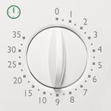 Winziger Mikrowellenherdtimer der Entsprechung 35, Makronahaufnahme des analogen weißen Skala-Gesichtes der Weinlese, graue Zahle Stockfoto