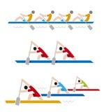 Wioślarskie biegowe kolorowe ikony ilustracja wektor