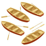 Wioślarskiej łodzi set Drewniana łódź z paddles odizolowywającymi nad bielem Mieszkania 3d isometric wektorowa ilustracja Zdjęcie Royalty Free