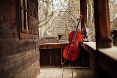 Wiolonczela i skrzypcowy opierać na ganeczku obraz stock