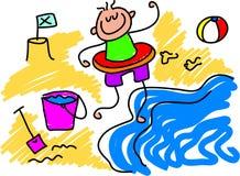 wiosłować na plaży ilustracji