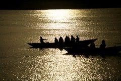 Wiosłować na złocistej rzece Fotografia Stock