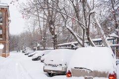 Wiosłuje śnieżystych samochody i drogę w podwórzu w zimie chmurnej Obraz Royalty Free