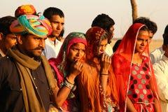 Wiosek biedni ludzie w Pustynnym Rajasthan India zdjęcia royalty free