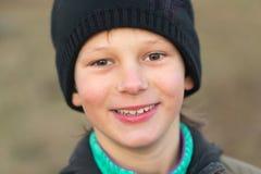 Wiosek dzieci Emocjonalny zakończenie portret w naturze Fotografia Royalty Free