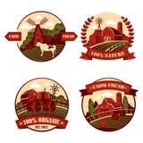 Wiosek ikony z krową i młynem, stajnia w polu ilustracji