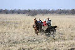 Wiosek rodzinne przejażdżki przez wiosny pola w końskiej furze dalej Obraz Stock