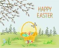 Wiosen łozinowi i Easter krajobrazowi lasowi Wielkanocni jajka i motyl w trawie z kwiatu rocznika wektorowym ilustracyjnym editab ilustracji