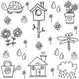 Wiosen doodles ustawiający z ręka remisem ilustracji