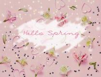 Wiosen flovers i magii gwiazdy na różowym tle Odgórny widok, mieszkanie nieatutowy Słowo wiosna w centrum Cześć Zdjęcia Stock