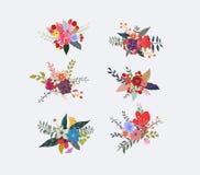 Wiosen kwieciści grona, kwiatów wianki, bukietów elementy ilustracja wektor