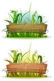 Wiosen ostrza trawa Z drewna ogrodzeniem royalty ilustracja