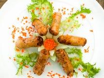 Wiosen rolki dekorować z warzywami zdjęcie stock