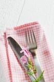 Wiosen stołowi położenia z świeżym kwiatem, pieluchą i silverware, Obraz Stock