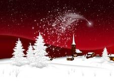 Wioska - Abstrakcjonistyczna Mknąca gwiazda kartka z pozdrowieniami Wesoło boże narodzenia i Szczęśliwy nowy rok - ilustracja wektor