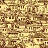 Wioska bezszwowy wzór royalty ilustracja