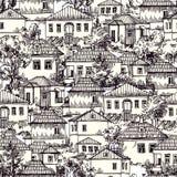Wioska bezszwowy wzór ilustracja wektor