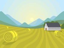 Wioska krajobrazów ilustraci gospodarstwa rolnego domu rolnictwa grafiki wektorowa wieś ilustracja wektor