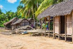 Wioska na plaży w Madagascar Obrazy Royalty Free