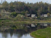 Wioska na riverbank Volga Zdjęcie Royalty Free