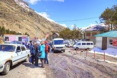 Wioska narciarki na haliźnie Azau Obraz Stock