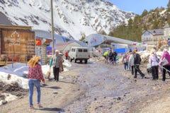 Wioska narciarki na haliźnie Azau Zdjęcia Stock