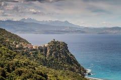 Wioska Nonza na nakrętce Corse w Corsica Zdjęcia Royalty Free