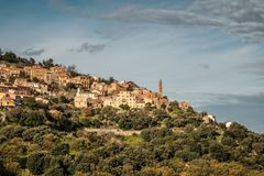 Wioska Occhiatana w Balagne regionie Corsica zdjęcie royalty free